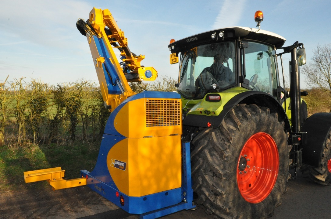 Bomfor Turner's new Buzzard hedge mower is configured to give the operator a better view of the cutting head