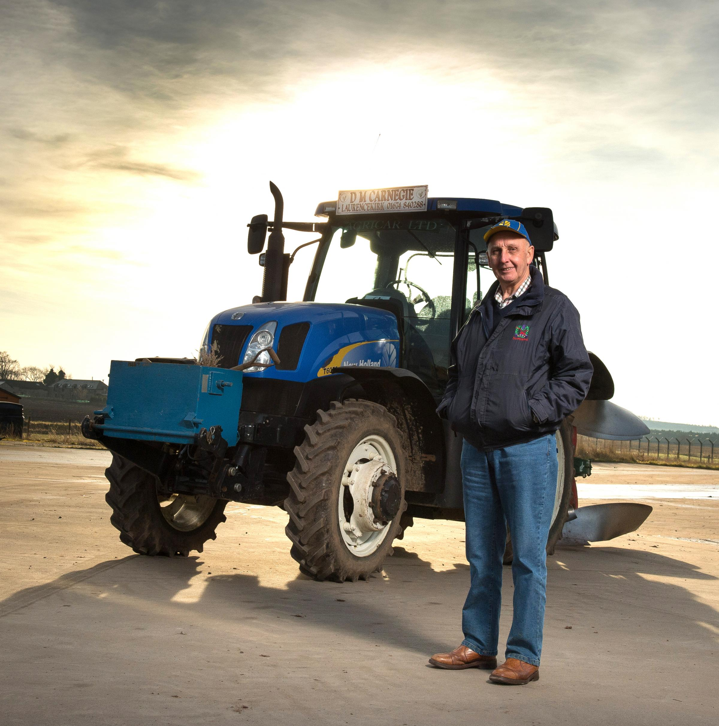 David Carnegie pictured at Steelstrath with his New Holland 6050 and two-furrow reversible Kverneland plough which has led him to victory a number of times at the Scottish Ploughing Championships