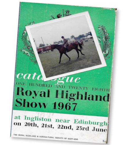 A PHOTOGRAPH of the 1967 Royal Highland Show catalogue along with an inset of Tommy Newbury riding Andrew McCowan's famous hunter, Burley Park