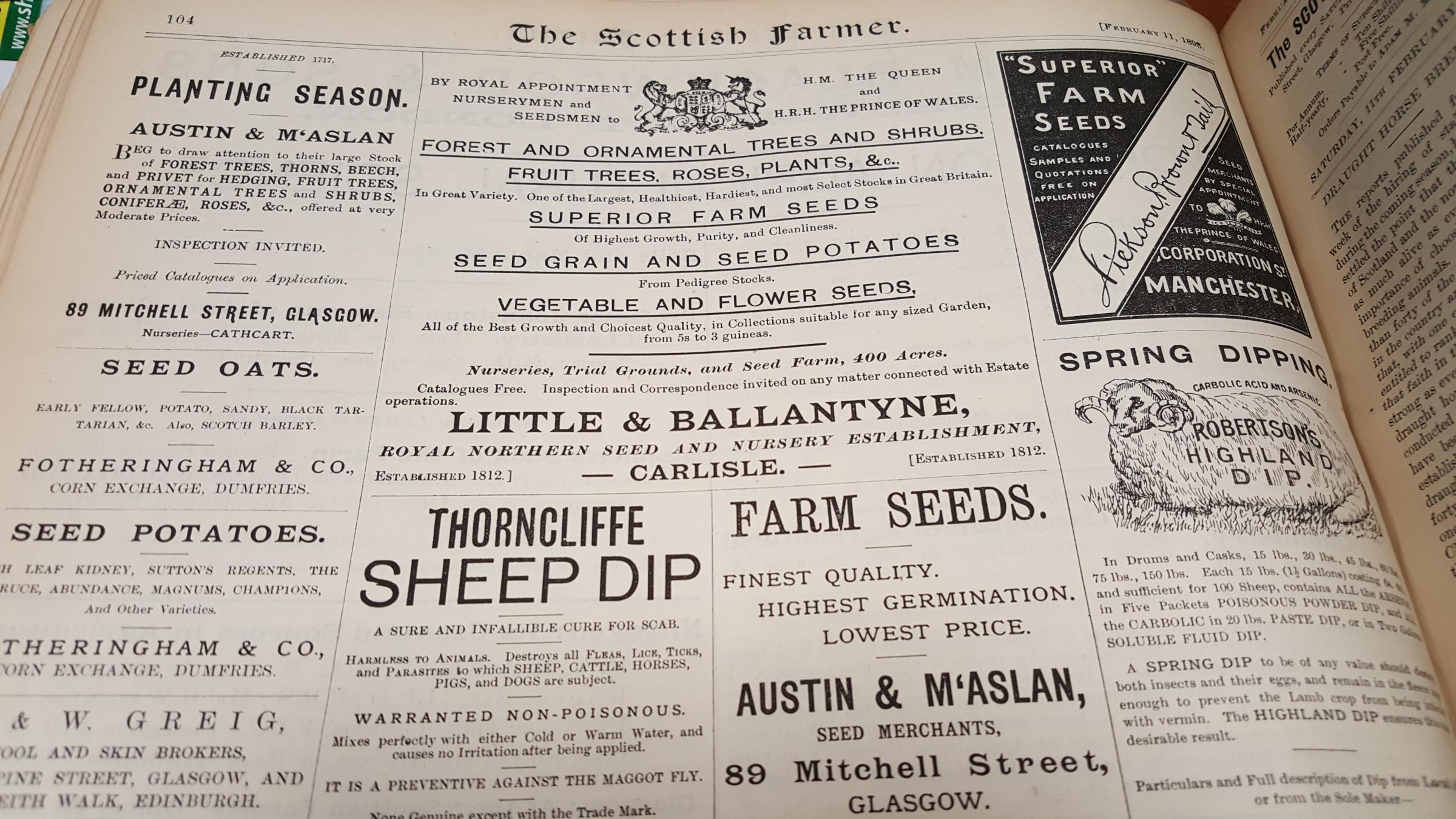 The 11 February 1893 edition of the Scottish Farmer