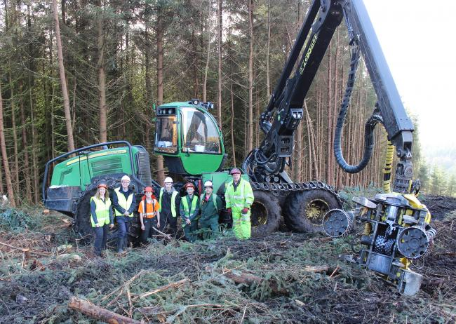 TREE TRAINING from left SRUC training manager Rachel Fraser, UK Forest Products Association executive director David Sulman; trainees Robert Cowie, Matthew Ralph, and Jake Richardson;  SRUC Barony senior forestry instructor Paul Fotheringham; and NPTC ass