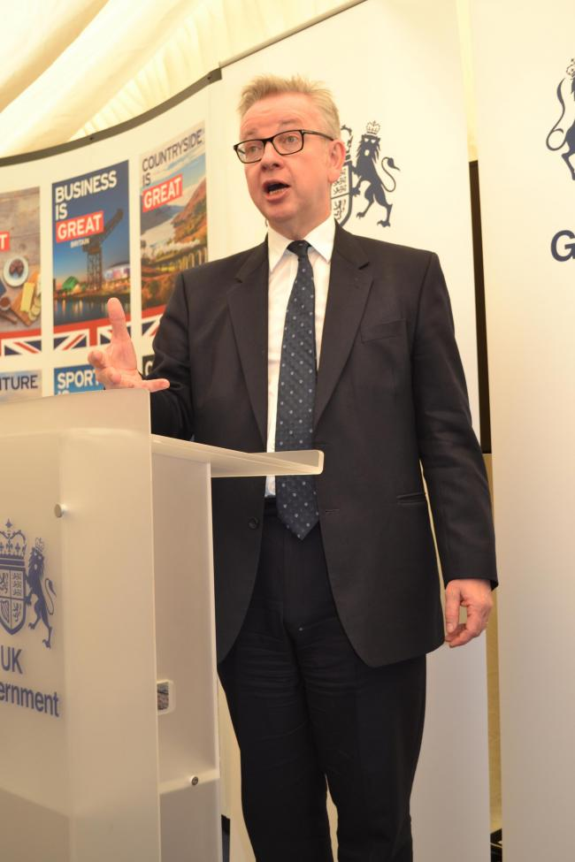 MICHAEL GOVE speaking at the Royal Highland Show