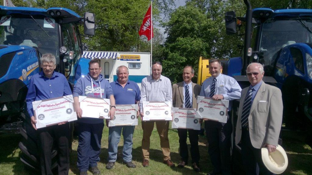 Six employees who have amassed a whopping 249 years between them with Fife Tractors, recently received their RHASS long service medals at Fife Show. Pictured, they are: James Swinton (storeman, 31 years), Ian Wallace (parts manager, 40 years), John Fergus