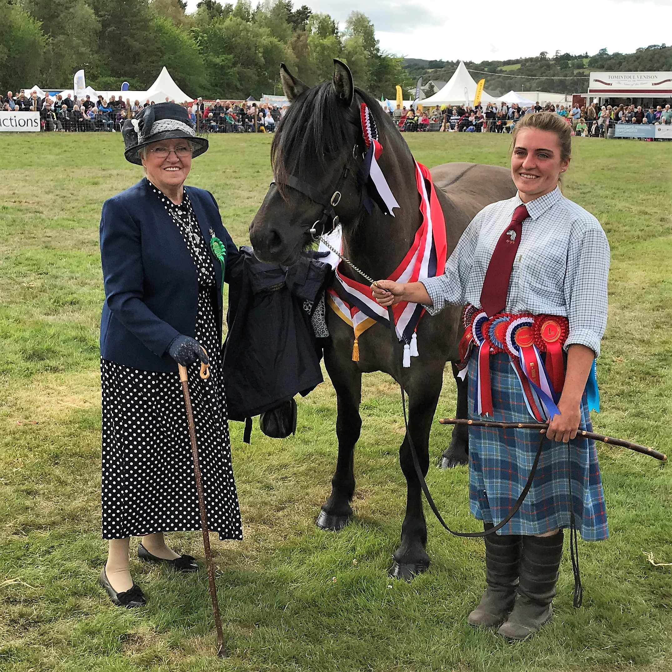 SUPREME CHAMPION horse at Grantown, Islay Luchag of Croila, with the judge Mrs Pat Watson, from Huntly, and handler, Becca Cameron, of Ruthven Equestrian