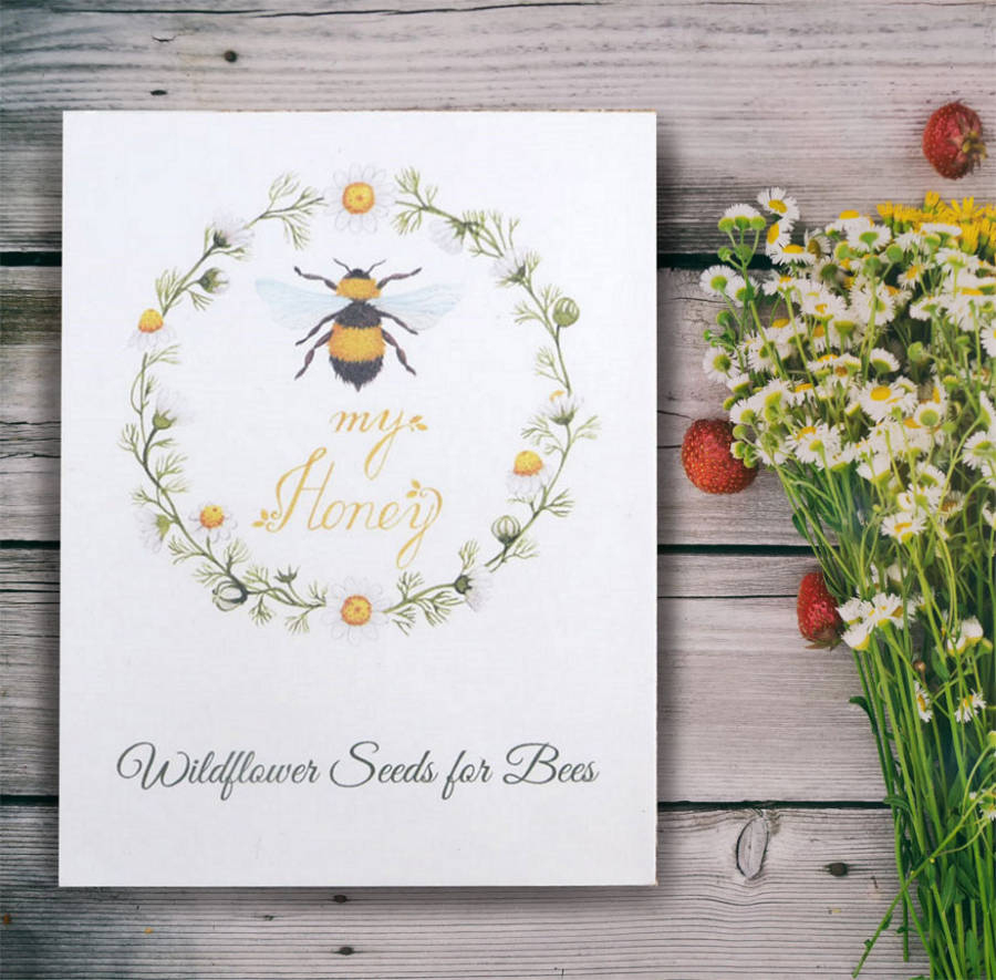 Personalised wildflower seeds for bees wedding favours