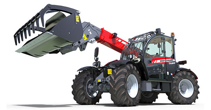 With more reach and bigger capacity the new top of the range telehanlder from Massey Ferguson adds a bit of grunt