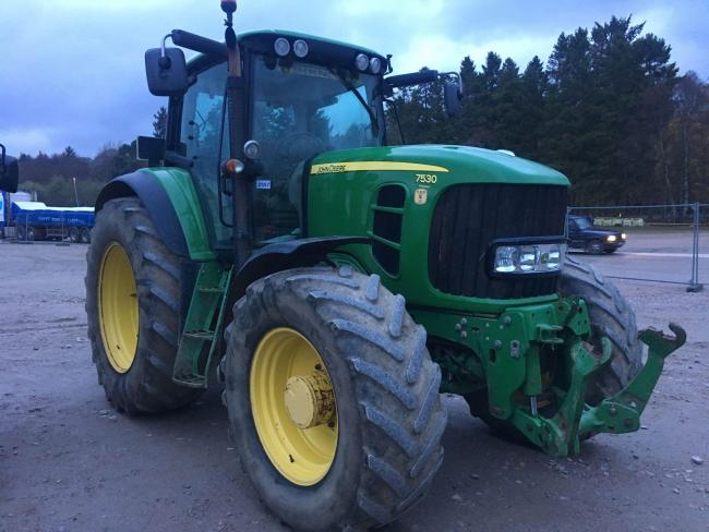 Trade peaked at £26,000 for this 2008 John Deere 7530 tractor