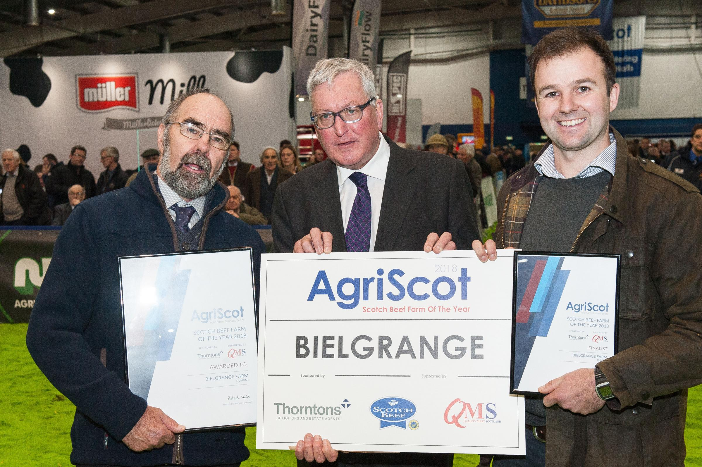 AgriScot Scotch Beef Farm of the Year award went to Bielgrange farm in Dunbar, Angus and  Niall Jeffrey with Fergus Ewing, Cabinet Secretary for the Rural Economy and Connectivity 