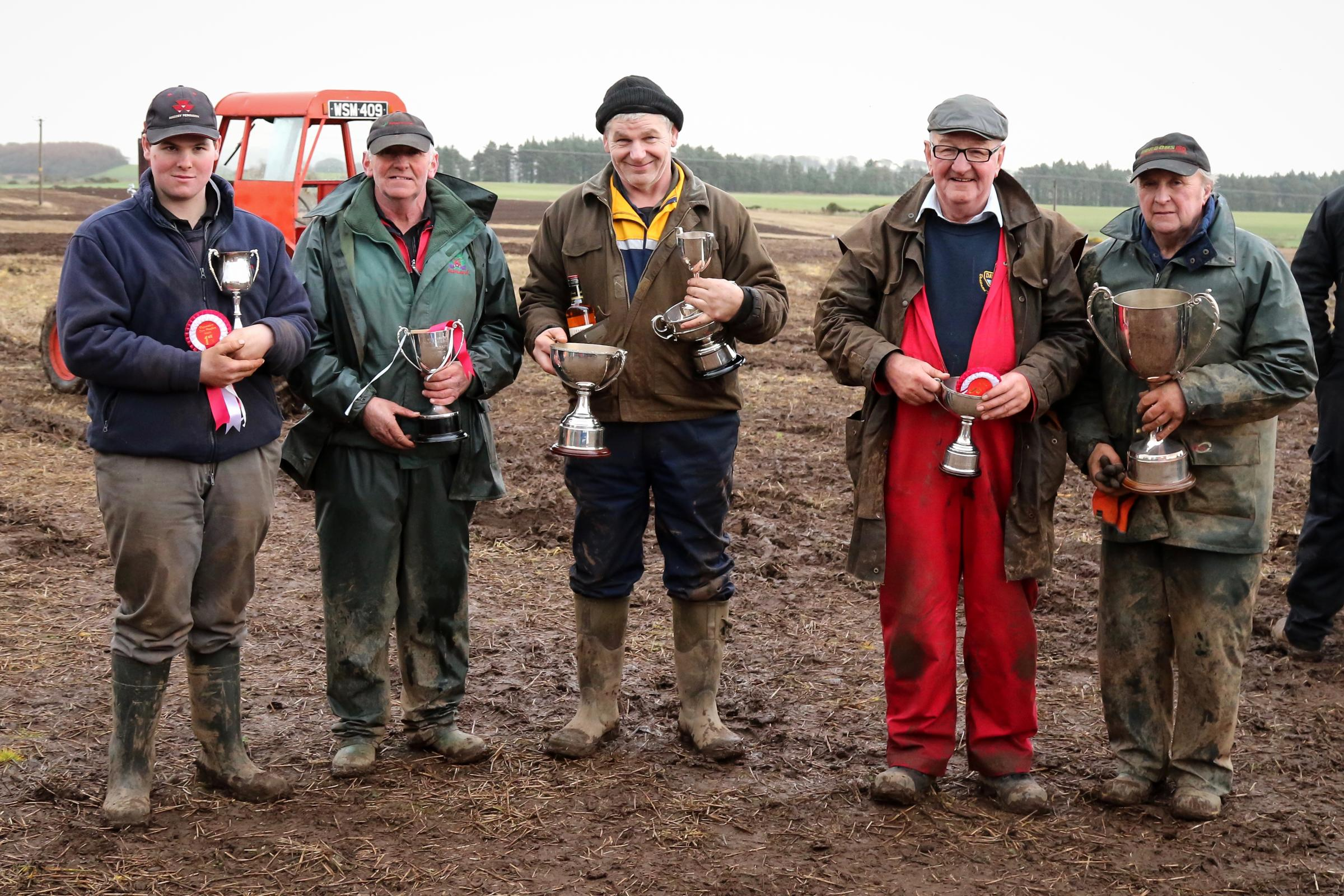 Trophy presentation line up, from left to right, J Magnay, G McLachlan, A Brown, D Kirkpatrick, J McBratney