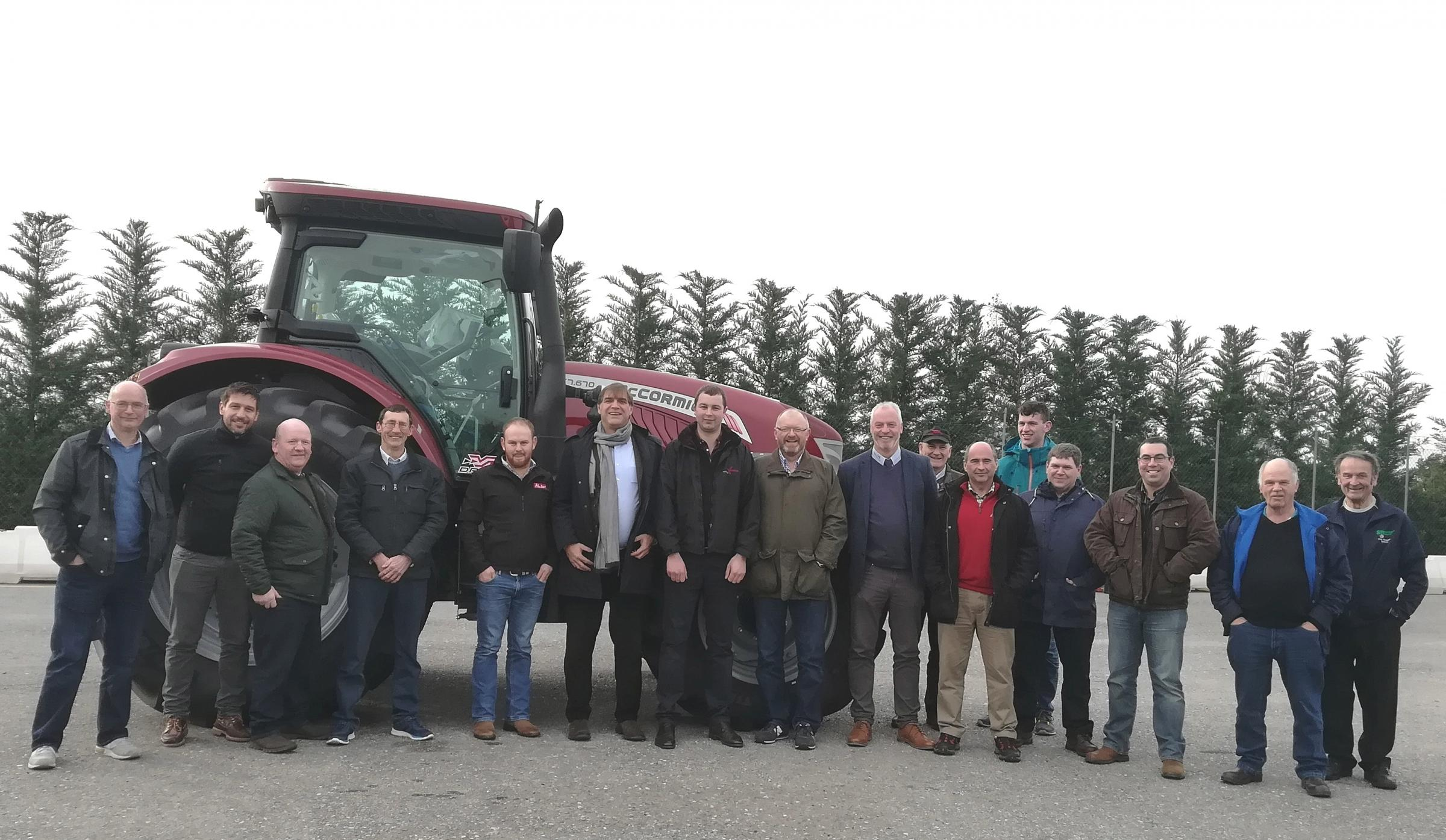 Angus farmers at the McCormick manufacturing and assembly plant with Simeone Morra, commercial director (centre) flanked by Liam Wylie (left) and Andy Mitchell. Bob Bain, Argo Tractors area sales manager for Scotland and Northern Ireland, is pictured eigh
