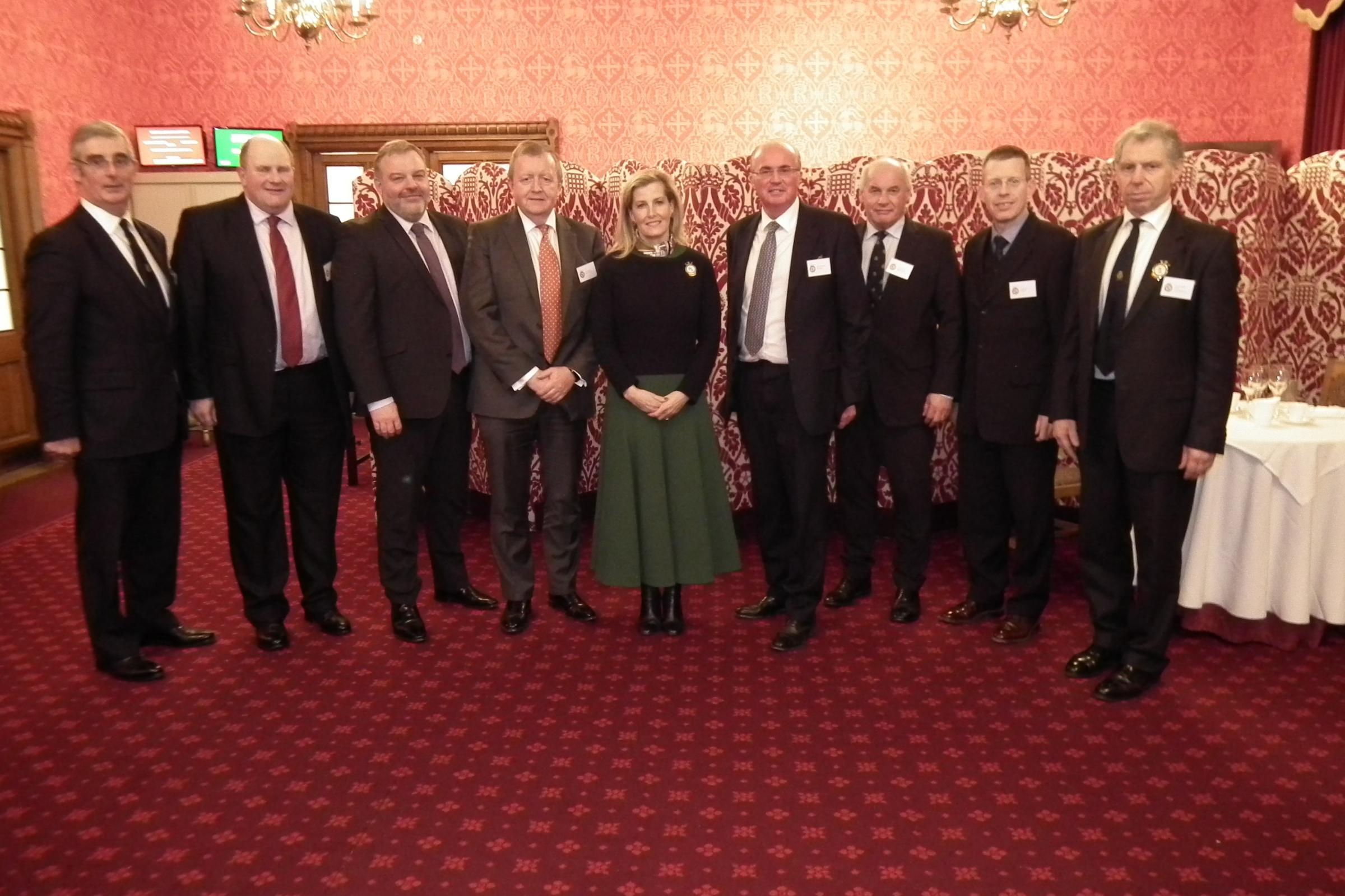 Smithfield Forum pictured with HRH Countess of Wessex centre, with L-R John Dracup, Andrew Laughton, Prys Morgan, Tom Kirwan, Robbie Galloway, David Gunner, Mark Allan and William Bedell