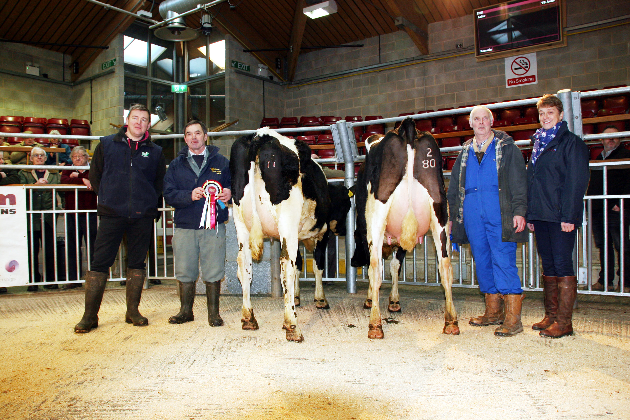 Champion and reserve winners from left: judge Ian Collins, champion Brian Moorhouse, reserve champion Duncan Robinson and Helen Whittaker, representing regular sponsors NMR.