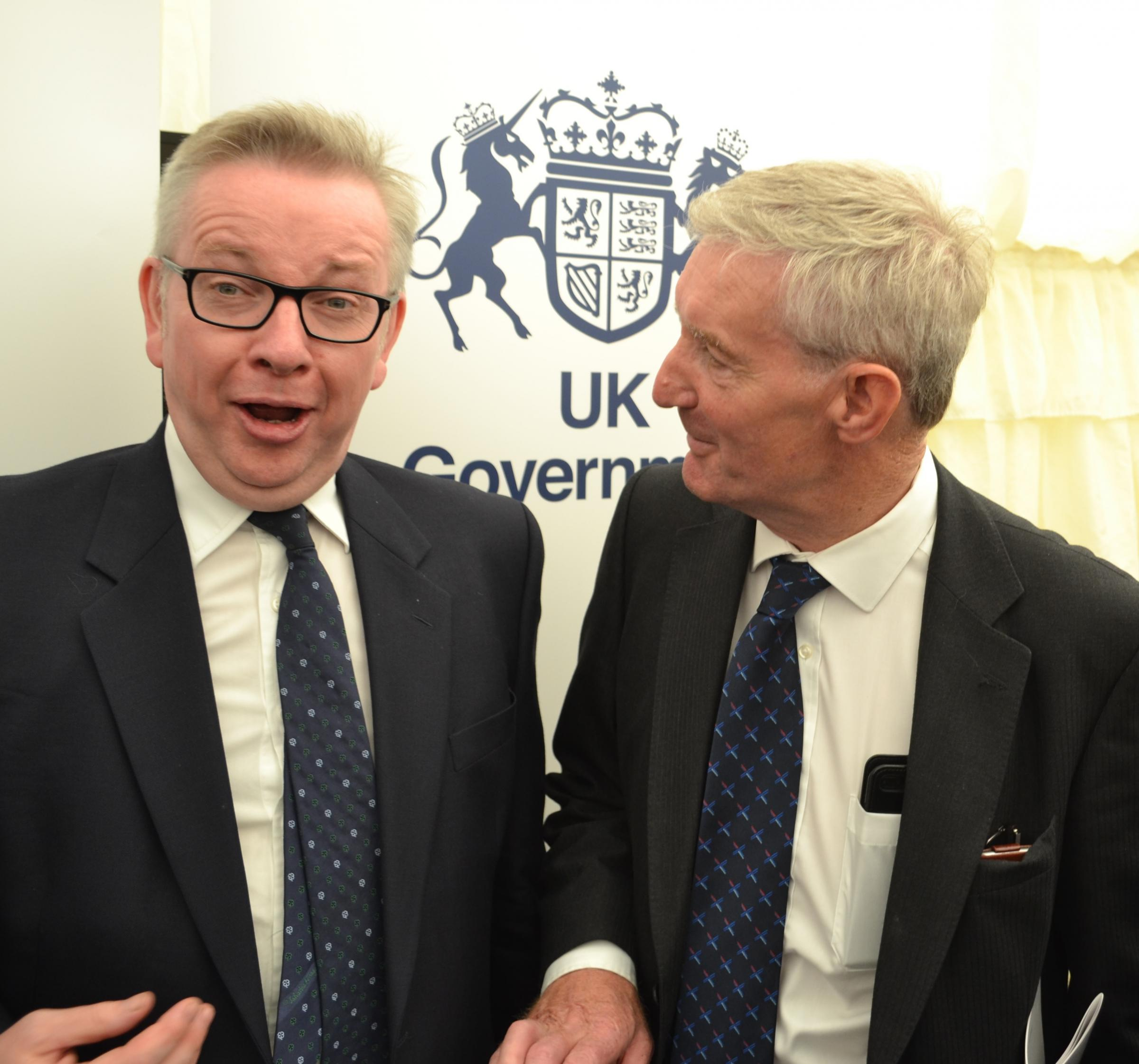 MICHAEL GOVE and Scottish Conservative Peter Chapman at the Royal Highland Show