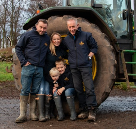 Alison Milne and her family, Demperston Farm, Auchtermuchty