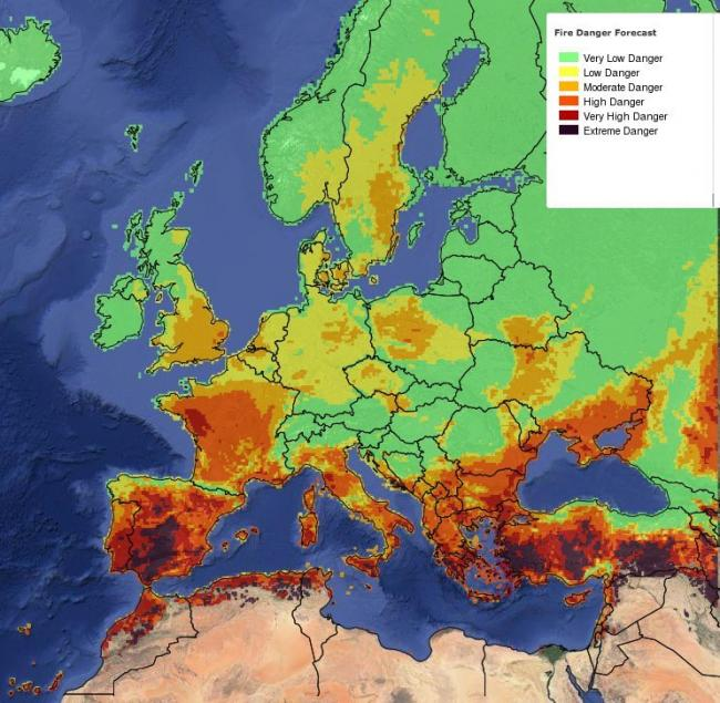 Map of Europe showing areas in danger of fires