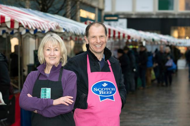 Perth Farmers Market manager Adeline Watson pictured with Farmers Market founder Jim Fairlie