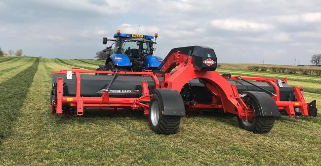 The Kuhn Merge Maxx mower was being trialled in Ayrshire this week ahead of the Scotgrass event, on May 15