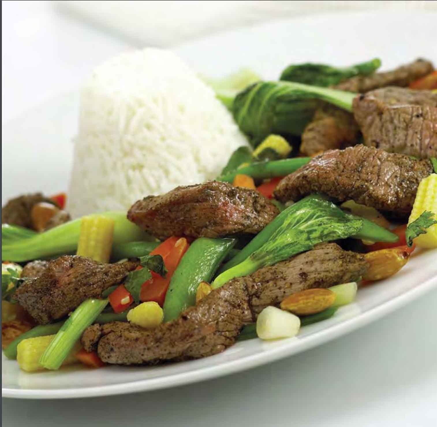 Peppered beef and vegetables recipe