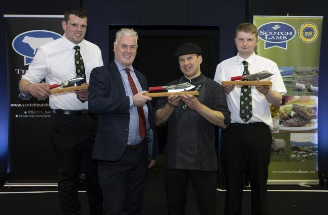 Alan Clarke (left)of QMS presenting the Butchers Wars singles winner Barry Green, from Cairngorm Butchers in Grantown On Spey, with his trophy, and Butchers Wars pairs winners Steven Cusack (left) and Hamish Jones (right) from Davidson Speciality Butcher