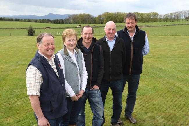 The beef event hosts Robbie and Barbara Milne, with their son James, plus Neil McCorkindale and David Barron, from the Scottish Beef Association, which is organising the event