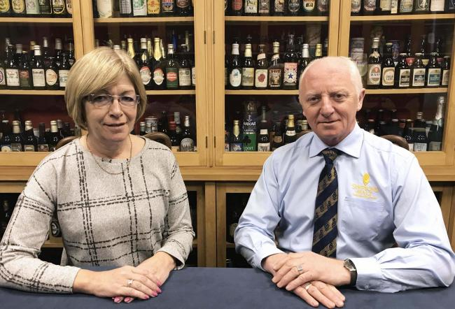 Kathleen Park and Ivan Goodwin who are retiring from MSP and Simpsons Malt after 35 and 43 years of service, respectively
