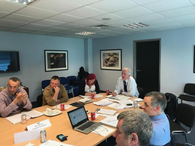 Ayrshire beef and sheep farmer Jimmy Ireland, centre, chairing the NFU Scotland Livestock Committee meeting held at Scotbeef's Queenslie plant