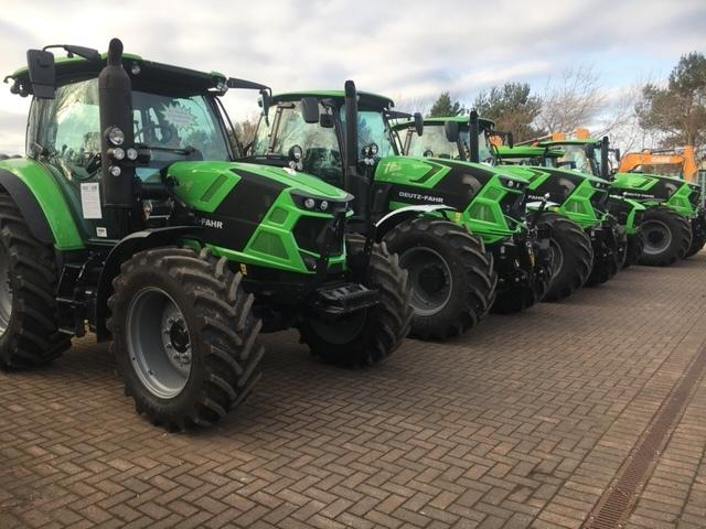 Line-up and ready to work – a line-up of Deutz tractors at Hodge Plant, in Nairn