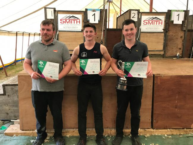 West sheep shearing winners (l-r) 1st Billy Gray, Crossroads, 2nd Ben Wight, Biggar and 3rd Jim White, Machars